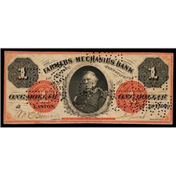 Farmers & Mechanics Bank Obsolete Banknote.