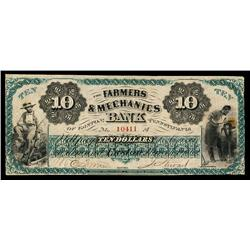Farmers & Mechanics Bank of Easton, Pennsylvania Obsolete Banknote.