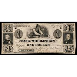 Bank of Middletown Obsolete Banknote.