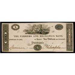 Farmers and Mechanics Bank ca.1830's Obsolete Proof.