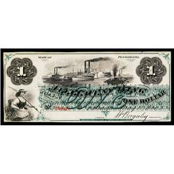 Allegheny Bank Obsolete Banknote.