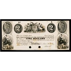 Corporation of the Borough of Reading Obsolete Banknote Proof.