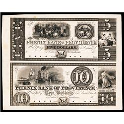 Phenix Bank of Providence, ca.1830's Uncut Obsolete Proof Sheet of 2.