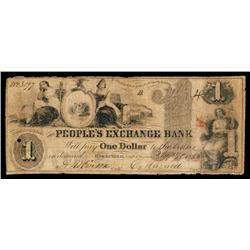 Peoples Exchange Bank Obsolete Banknote.