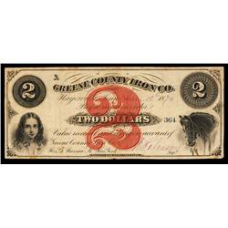 Greene County Iron Co. Obsolete Banknote.