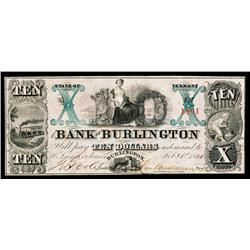 Bank of Burlington Obsolete Banknote.
