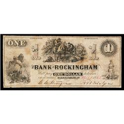 Bank of Rockingham Obsolete Banknote.