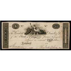 Bank of Virginia ca. 1810-19 Obsolete Proof.