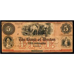 Bank of Weston Obsolete Banknote.