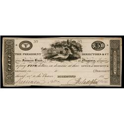 Farmers Bank of Virginia ca. 1810-19 Obsolete Proof.