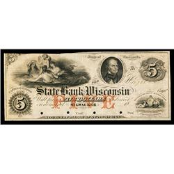 State Bank of Wisconsin Obsolete Banknote.