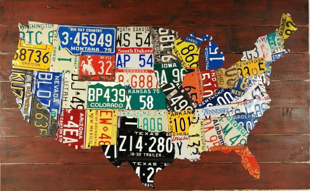 United States License Plate Map 385 X 625 American Folk Art - Us-map-with-license-plates
