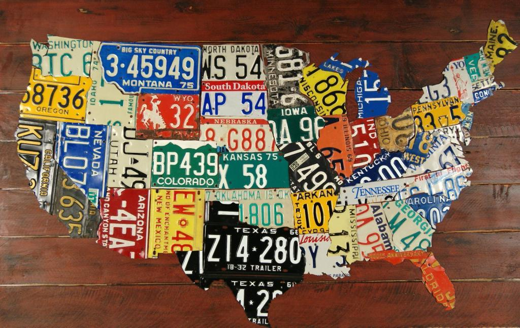 United States License Plate Map 385 X 625 American Folk Art - Us-map-license-plates
