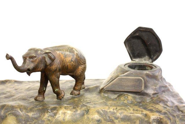 Bronze elephant inkwell