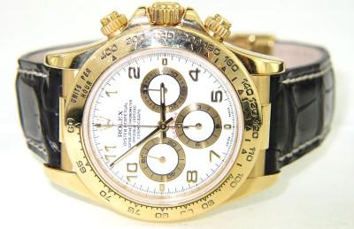 83c24e46249 ... Image 4   Rolex Daytona 18K Yellow Gold Leather Strap Watch ...