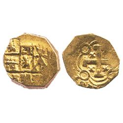 Bogota, Colombia, cob 1 escudo, posthumous Charles II, from the 1715 Fleet.