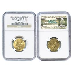 Seville, Spain, 1 escudo, Charles-Joanna, S to left, * to right, encapsulated NGC VF 30.