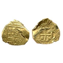 Seville, Spain, cob 2 escudos, Philip II or III, assayer B.