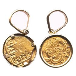 Seville, Spain, cob 1 escudo, Philip III(?), assayer not visible, mounted in 14K gold bezel for neck