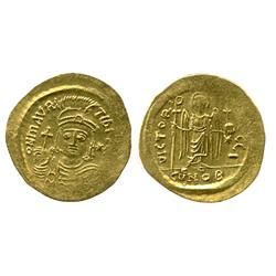 Byzantine Empire, Constantinople mint, gold solidus, Maurice Tiberius, 582-602 AD.
