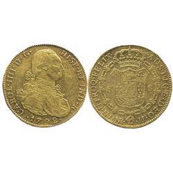 Bogota, Colombia, bust 8 escudos, Charles IV, 1792JJ.
