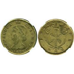Bogota, Colombia, 8 escudos, 1827RR, encapsulated NGC VF-30.