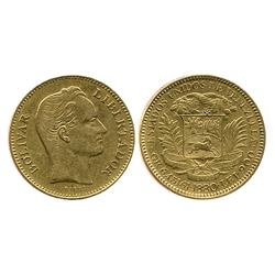 Venezuela (struck in Belgium), (20 bolivares), 1880.