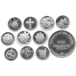 Lot of 10 silver medals of 1 avoirdupois oz each (.999 silver) made to commemorate the Atocha by Arc