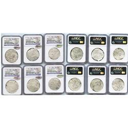Lot of 6 Potosi, Bolivia, cob 8 reales, Philip III, assayers not visible, Grade 2.