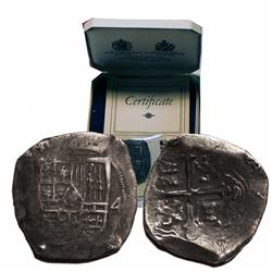 Mexico City, Mexico, cob 4 reales, Philip IV, assayer not visible, with original Spink box.