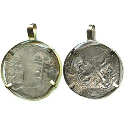 Mexico City, Mexico, cob 4 reales, Philip IV, assayer P, mounted in a simple 14K gold bezel for neck