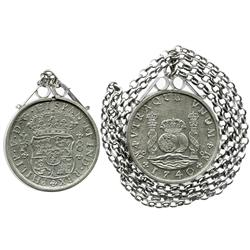 Mexico City, Mexico, pillar 8 reales, Philip V, 1740/30MF, in sterling silver bezel with silver chai