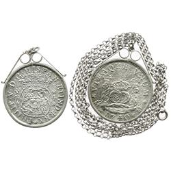 Mexico City, Mexico, pillar 4 reales, Philip V, 1740MF, in sterling silver bezel with silver chain.