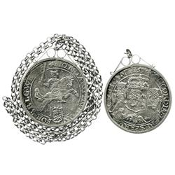 "Westfriesland, United Netherlands, ""rider"" ducatoon, 1670, in sterling silver bezel with silver chai"