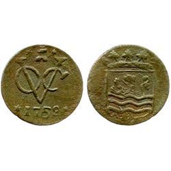 Dutch East India Co. (Zeeland mint), copper duit, 1752.