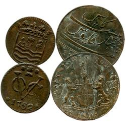 Lot of 2 shipwreck copper coins: Dutch duit 1752 from the Bredenhof (1753) and English East India Co
