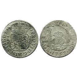 Mexico City, Mexico, pillar 2 reales, Ferdinand VI, 1757M, both crowns royal.