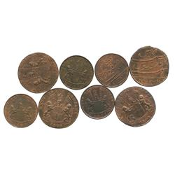Lot of 8 British East India copper X and XX cash (4 of each denomination) dated 1808.