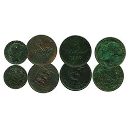 Lot of 4 copper coins of Guernsey (two 4 doubles of 1830) and Jersey (1/26 shilling 1844 and 1/32 sh