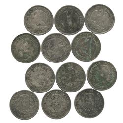 Lot of 6 Santiago, Chile, 1 pesos, various dates (1868-1881).
