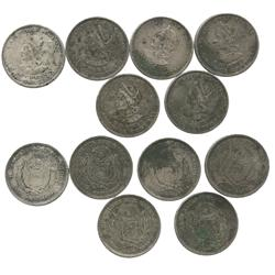 Lot of 6 El Salvador 1 pesos, various dates (1893-1895).