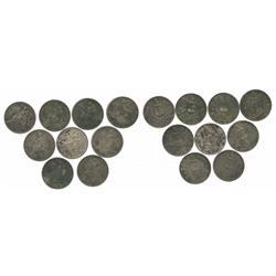 Lot of 9 Guatemala 1 pesos, various dates (1894-1896).