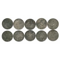 Lot of 5 Lima, Peru, 1 sols, various dates (1864-1894).