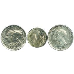 Philippines, set of 1 peso Roosevelt and Quezon, 1 peso Murphy and Quezon, and 50 centavos Murphy an