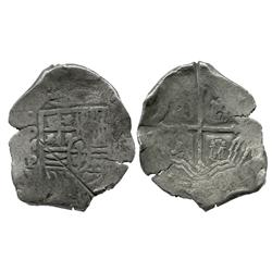 Mexico City, Mexico, cob 8 reales, Philip IV, assayer P, with test cuts as from circulation in the O