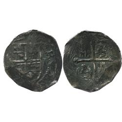 Mexico City, Mexico, cob 2 reales, Philip III, assayer not visible, rare variety with 3 castles in e