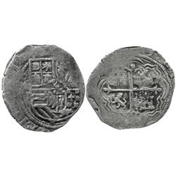Mexico City, Mexico, cob 1 real, Philip II, oM to left, assayer O or F to right.