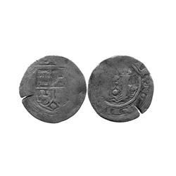 Lima, Peru, 1 real, Philip II, assayer Rincon, R to left, dot below motto.