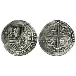 Lima, Peru, cob 1 real, Philip II, assayer Diego de la Torre, P-(I) to left, *-oD to right.