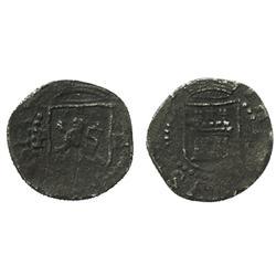 Lima, Peru, cob 1/4 real, Philip II, assayer Diego de la Torre, P to left, oD to right of lion.